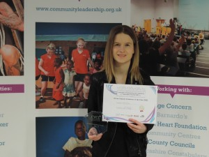 Sophie Morrison - winner of the 2015 UCLan Volunteer of the year